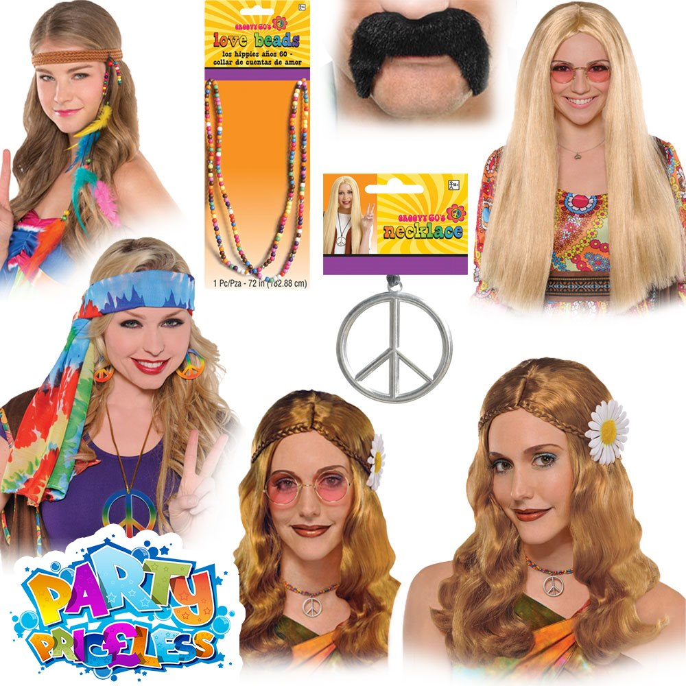 60s 1960s 70s 1970s Mens Hippy Hippie Fancy Dress Wig Kit 4 Piece Kit by Smiffys