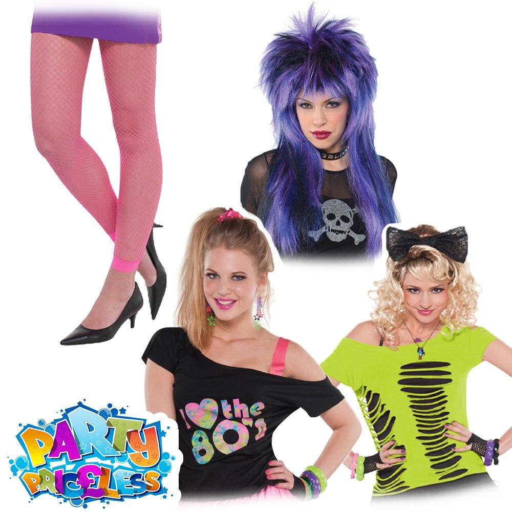 Ladies 1980s Neon Fishnet Fancy Dress Leggings T-Shirt Rocker Wig Accessories