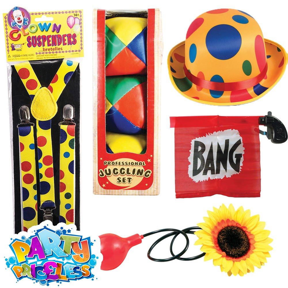 Squirting Flower Yellow Red Clowns Circus Fancy Dress Costume Accessory