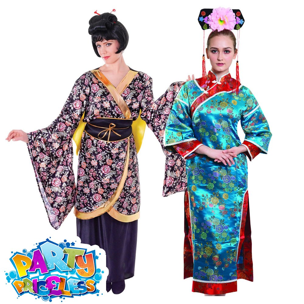 Brand New Golden Japanese Geisha Adult Costume