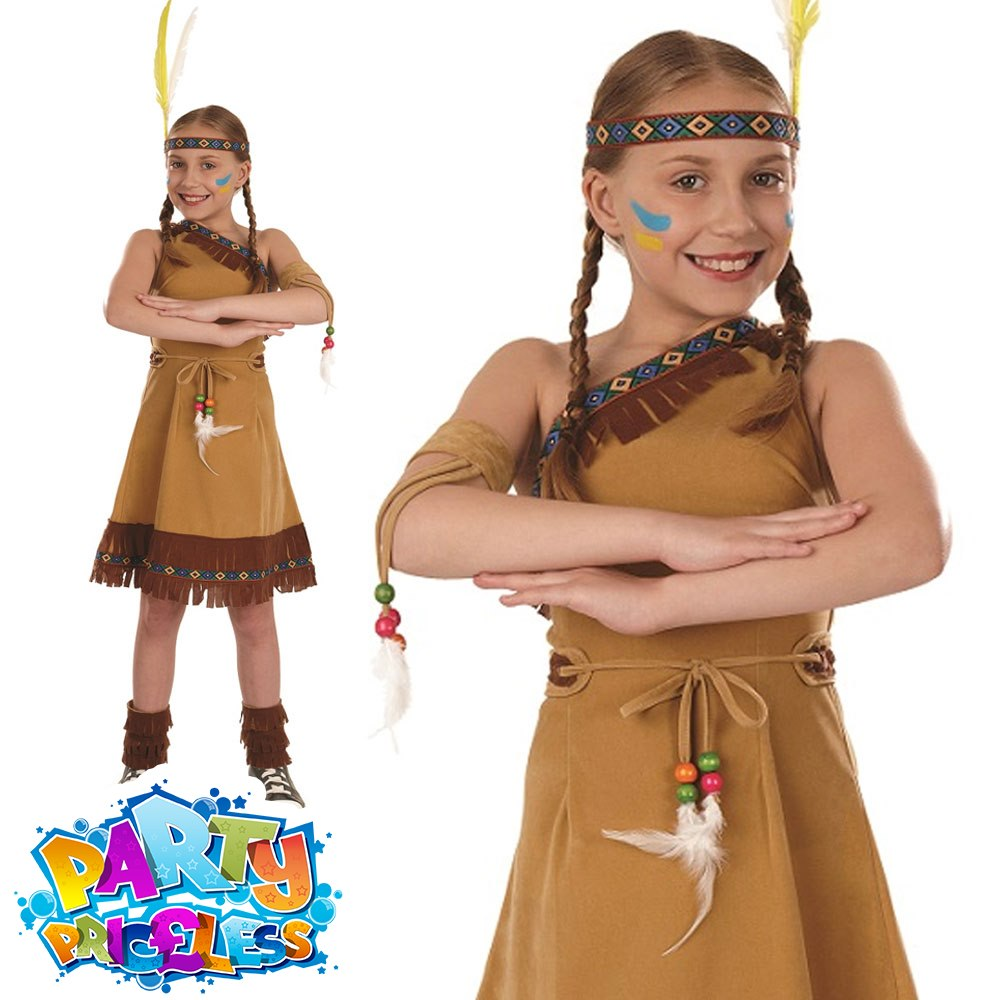 141d06f9d4 Red Indian Girls Costume Native Squaw Girl Fancy Dress Book Week Day ...
