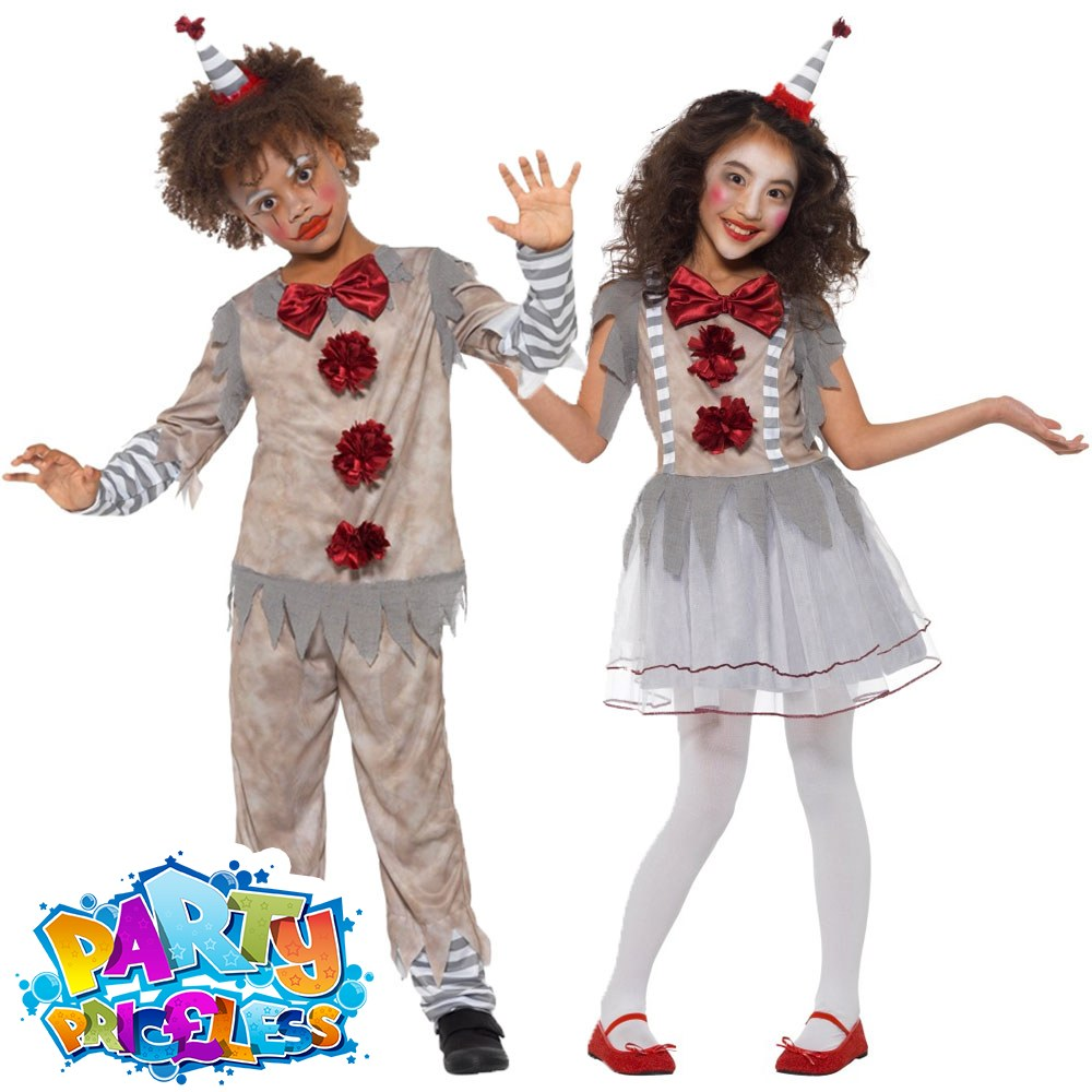 Halloween Clown Girl Outfit.Details About Boys Girls Vintage Clown Costume Halloween It Kids Fancy Dress Outfit