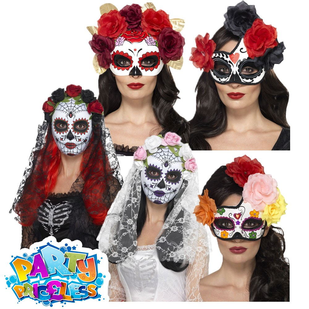 5a74a042366 Details about Day of the Dead Mask Halloween Sugar Skull Ladies Fancy Dress  Accessory Womens