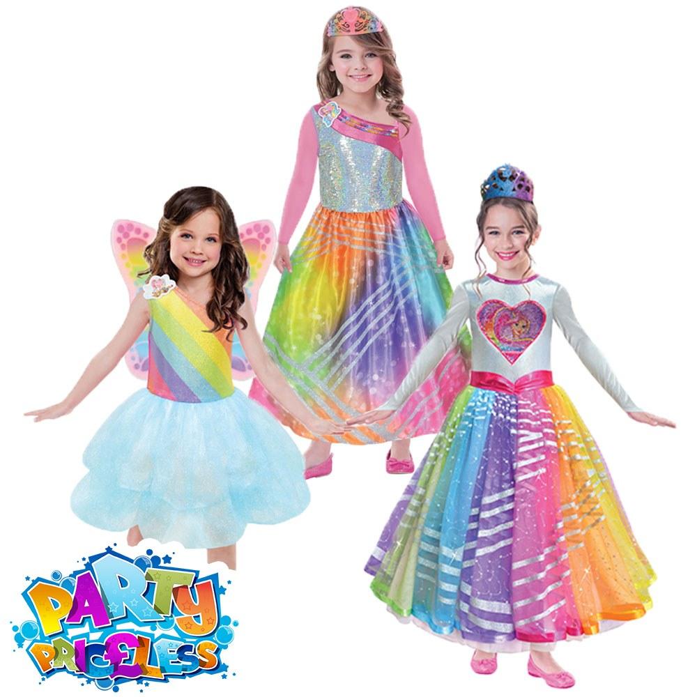 Barbie Rainbow Magic Dress Fancy Dress Children/'s Costume 8-10 Years