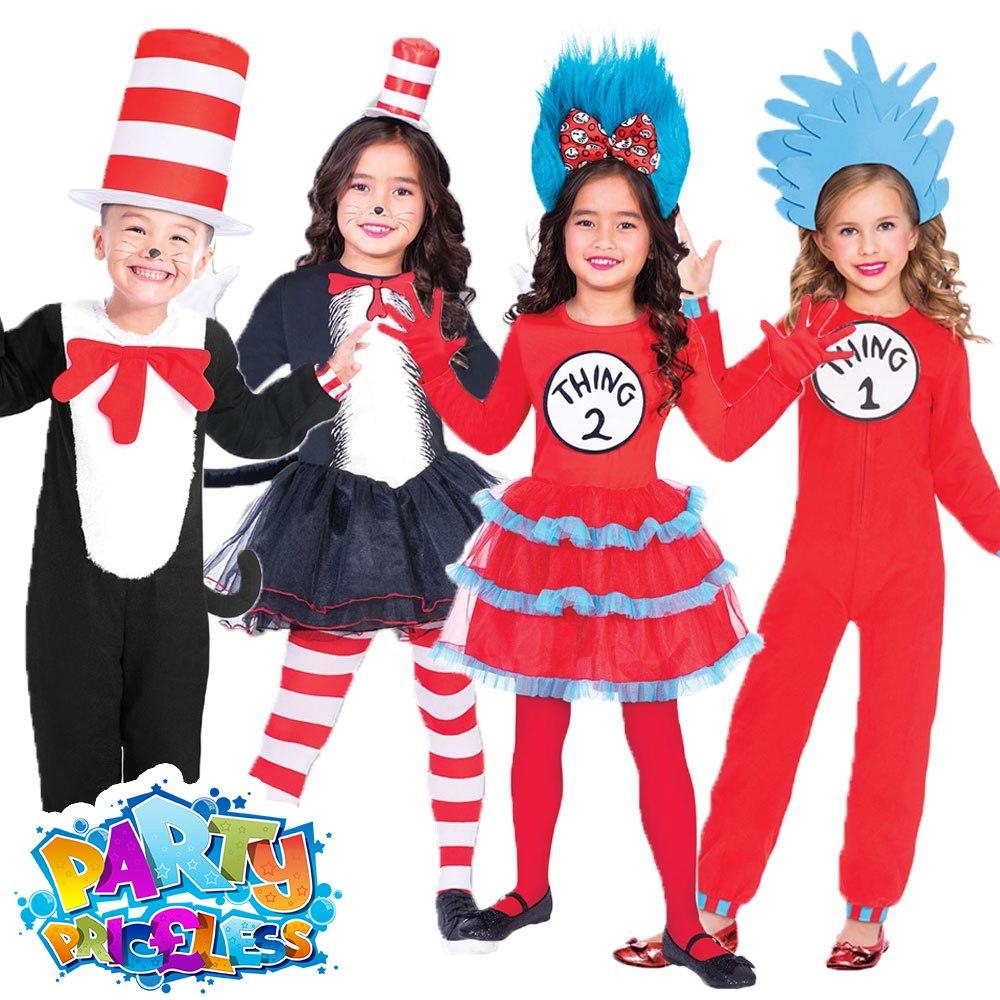 98922c5f Girls Boys Cat In The Hat Fancy Dress Costume Dr Seuss Book Week Day Kids  Fancy Dress Outfit by AMSCAN (9904193_9904198_9904194)