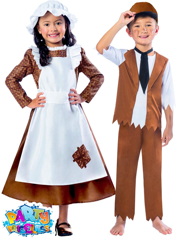 Girls Boys Victorian Costume Maid Servant Kids Child School Fancy