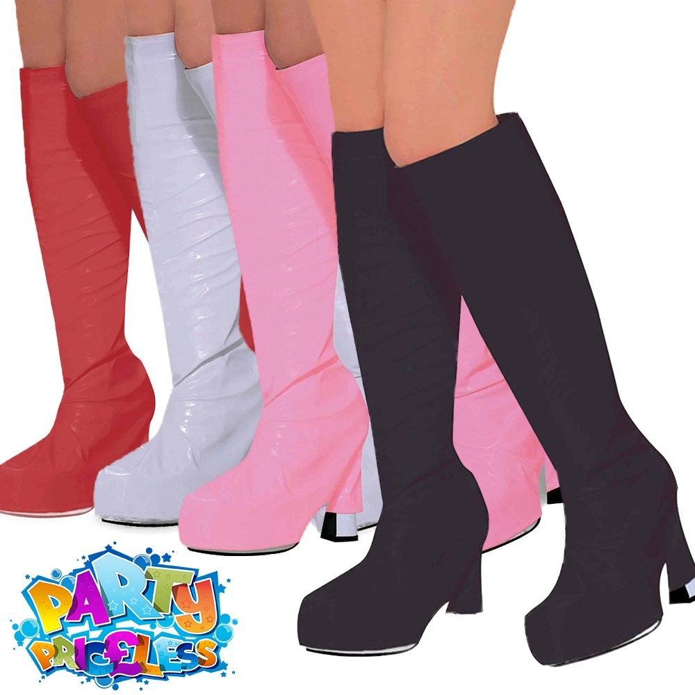 LADIES PINK GOGO  60S 70S HIPPY SHOE BOOT TOPS COVERS FANCY DRESS COSTUME BA315