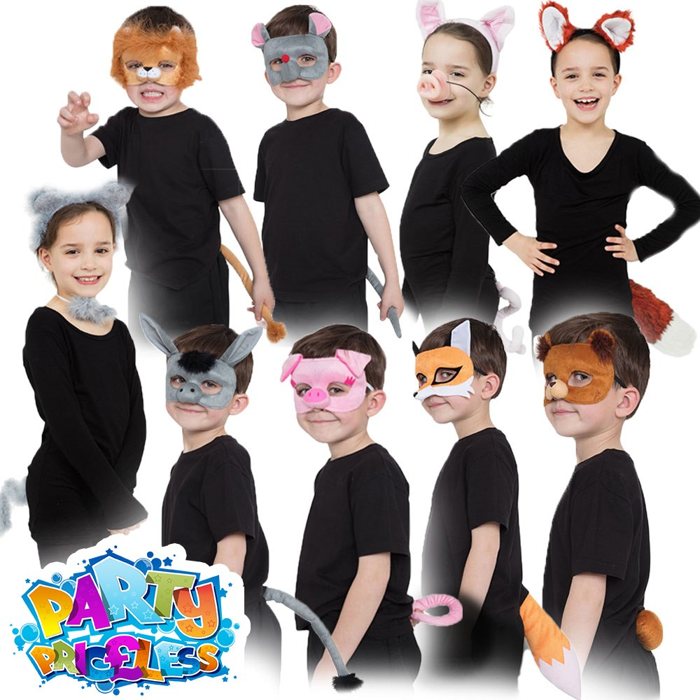 c9cdc815d2f39 Details about Kids Animal Costume Accessory Set Ears Tail Mask Girls Boys  Childs Fancy Dress