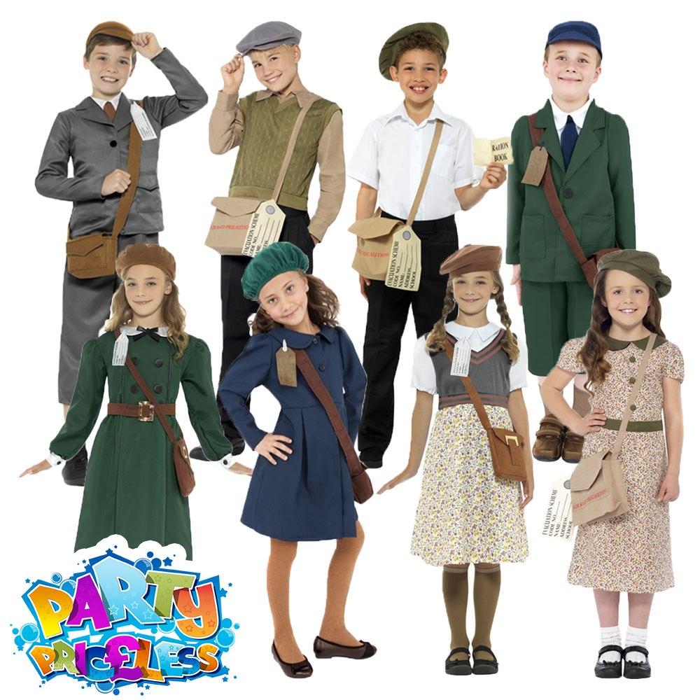 Kids Evacuee Fancy Dress Costume Wartime School Boy Girls WW1 WW2 Book Week Day Fancy Dress by Smiffy's
