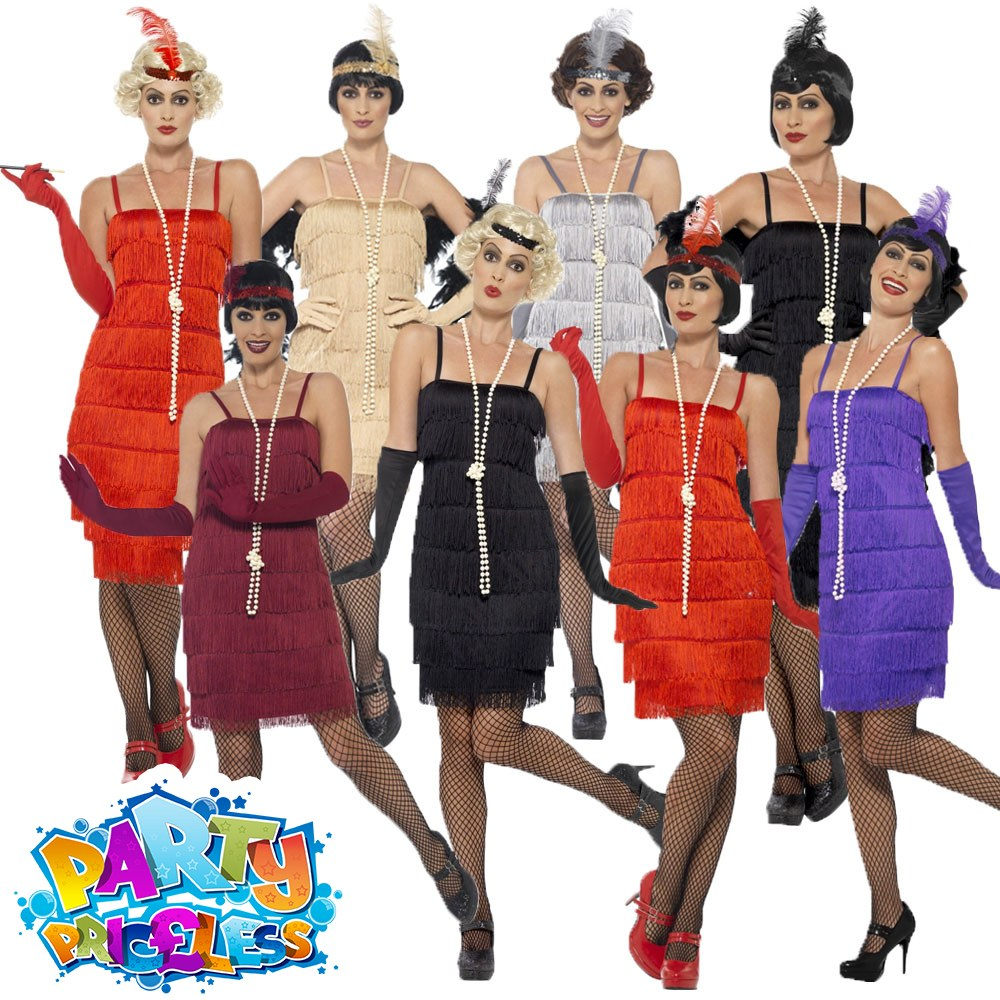 Red Flapper Ladies Costume 1920s Gatsby Charleston Fancy Dress Outfit New