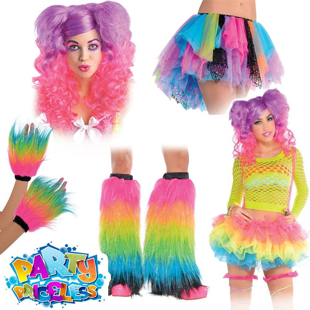 Dance-Disco-1970/'s-Pop NEON HAIR SCRUNCHIES Hen Parties-Fancy Dress Accessory