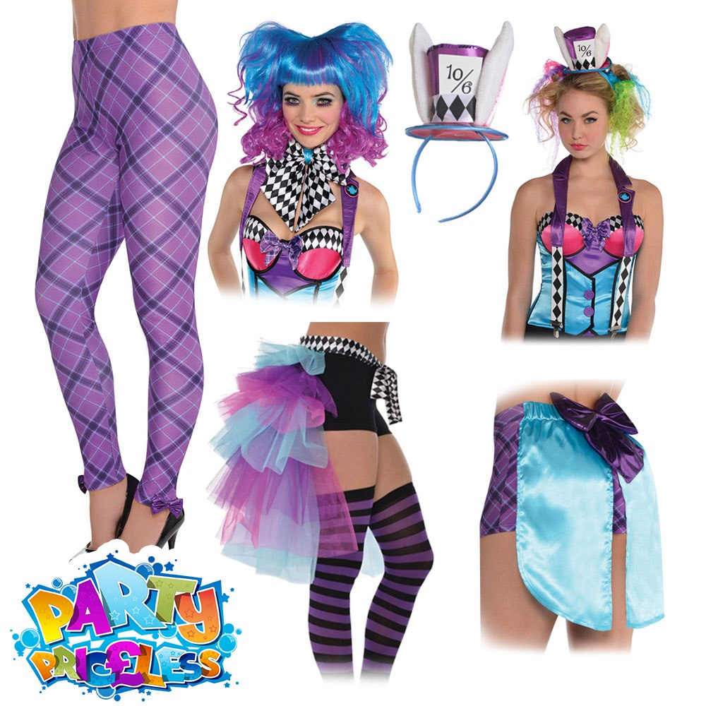 43a9fc415c6 Details about Ladies Miss Mad Hatter Costume Accessories Alice Fairy Tale Fancy  Dress Outfit