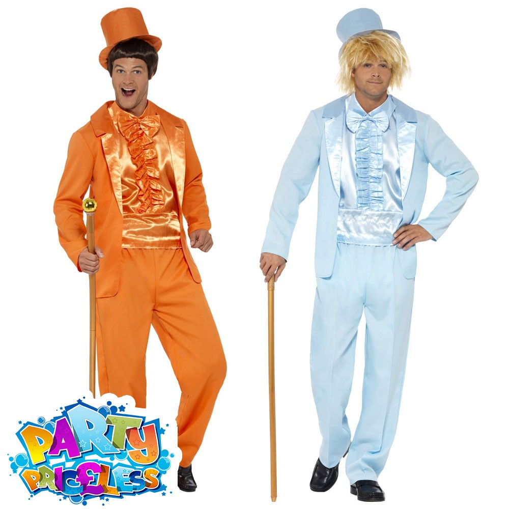 90s Stupid Tuxedo Costume Orange Adult Mens Stag Do Fancy Dress Outfit