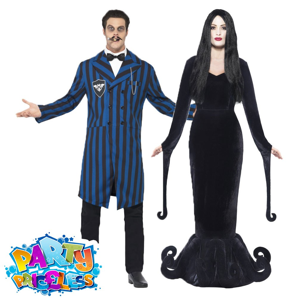 mens ladies gomez morticia couples costume adult halloween fancy