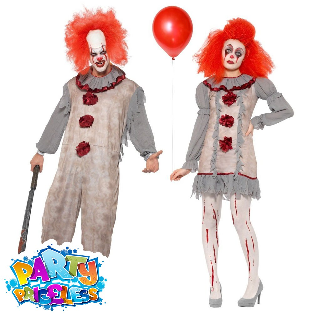 Halloween Clown.Details About Vintage Scary Clown Costume Mens Ladies Halloween Adult Fancy Dress Pennywise