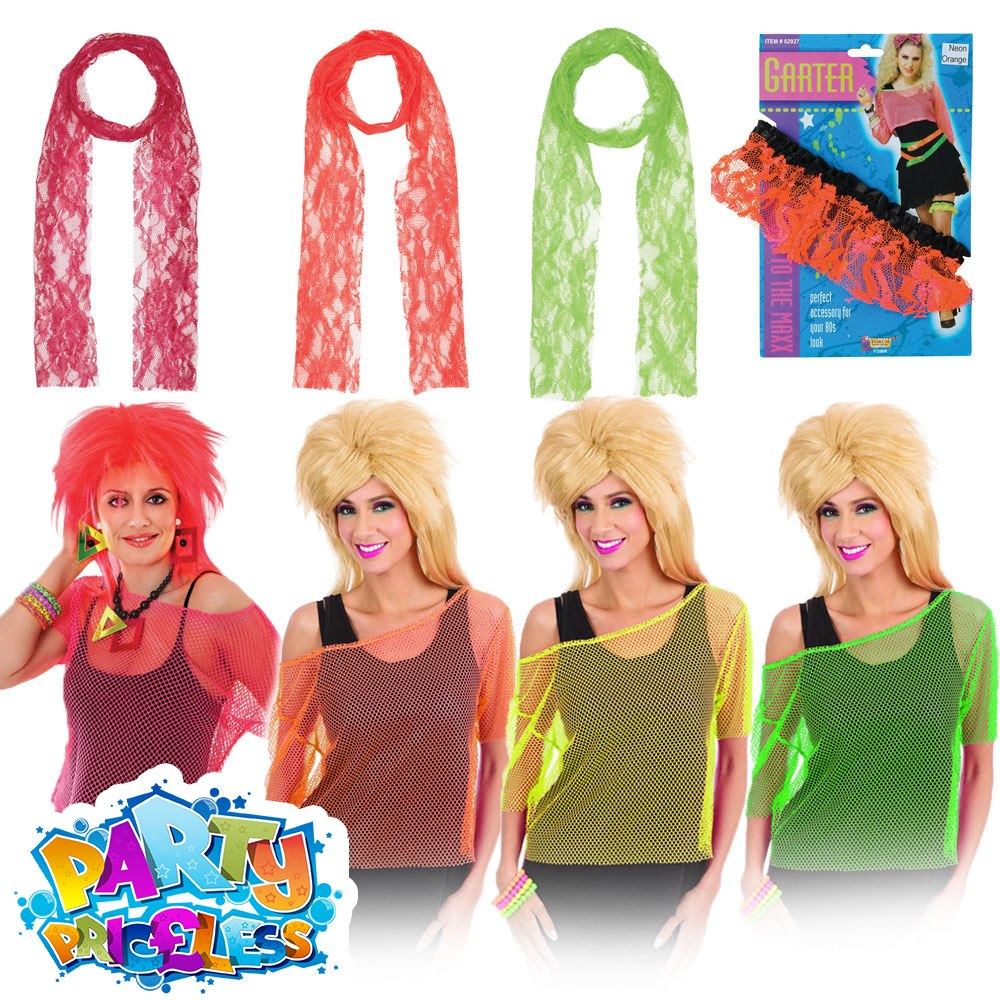 Adult Ladies Neon Fishnet Top Lace Scarf 1980s Fancy Dress Costume Accessories