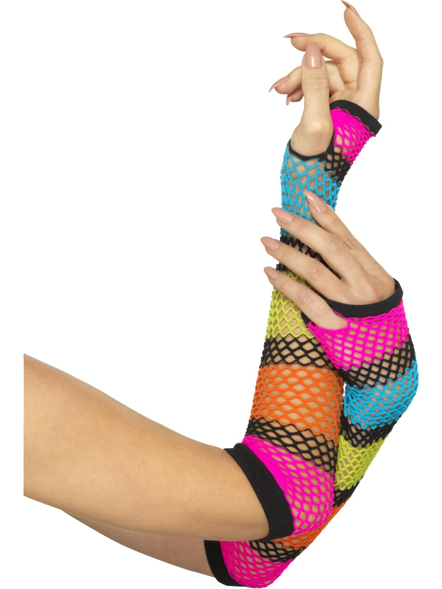 Neon-Striped-Fishnet-Legwarmers-or-Gloves-1980s-Ladies-Rave-Fancy-Dress