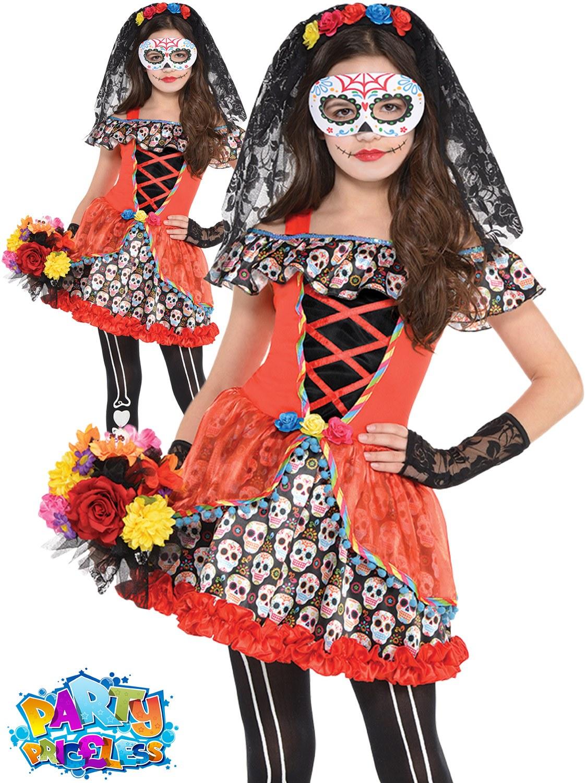 Girls Sugar Skull Senorita Costume Teen Skeleton Day Of The Dead