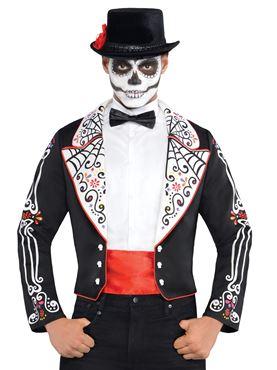 608f0a9fed Adult Day of the Dead Senor Jacket Mens Bones Halloween Costume ...