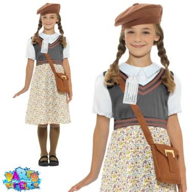 Childs WW2 Evacuee School Girl Costume