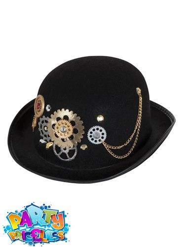 f1adf89454247 Steampunk Bowler Top Hat Victorian Mens Ladies Adults Fancy Dress ...